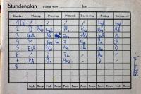 Stundenplan im Hausaufgabenheft an der POS