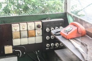 Telefon in einem Pförtnerhäuschen