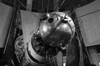 Modell einer sowjetischen Sojus-Raumkapsel auf der Leipziger Messe, 60er Jahre in der DDR