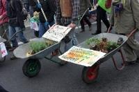 Mit Schubkarren auf der Demo in Berlin: Wir haben es satt! Bauernhöfe statt Agrarindustrie.
