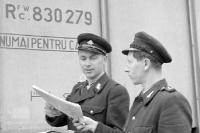 DDR-Zollbeamte vor einem rumänischen Güterwaggon, der Holz beladen hat, 1955