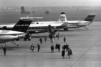 Flugzeuge der Super-one-Eleven und der BEA auf dem Flughafen Berlin-Tempelhof, 1960er Jahre