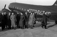 Sowjetisches Flugzeug mit Delegation, L4768, auf Berliner Flughafen, 1949