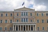 Euro-Krise und finanzieller Kollaps und Rettungsschirme - Parlamentsgebäude in Athen. Griechenland