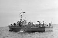 Boot der DDR-Marine auf der Ostsee, Ende der 50er Jahre, Grenzsicherung auf dem Meer