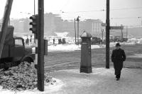 Ecke Stalinallee / Warschauer Straße in Ostberlin, Anfang 50er Jahre