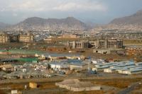 Blick auf die afghanische Hauptstadt Kabul, Islamische Republik Afghanistan, Kriegsschäden & Camp