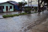Überflutete Straßen in Tabatinga, Brasilien