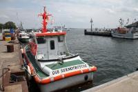 Seenotrettungskreuzer im Hafen von Vitte