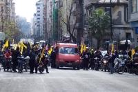 Demonstration in Athen, Protest vom Motorrad aus, Finanzkrise in Griechenland