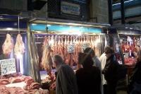 Alles frisch blutig vom Schlachter, Fleischmarkt in Athen