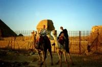 klassischer Kamelritt bei den Pyramiden bei Gizeh