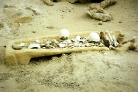 Knochenreste auf einem geöffneten Sarkophag