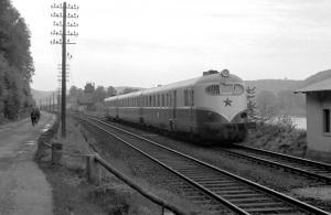 Lokomotive am Bahnhof Bad Schandau (1955)