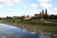 Blick auf die Warta und die Kathedrale von Poznan (Posen)
