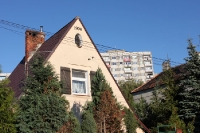 Generationen von Wohnhäusern in einem Wohngebiet in Poznan (Posen)