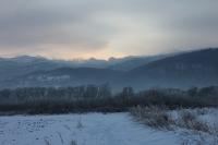 Blick auf das verschneite Riesengebirge