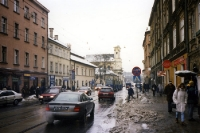 Knackiger eiskalter Winter in der polnischen Stadt Krakau / Krakow, Januar 2000