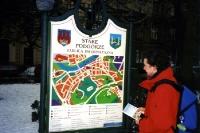 Ein Blick auf den Stadtplan der Altstadt von Krakau / Krakow, Winter 2000