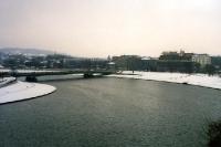 Blick auf die winterliche Weichsel / Wisla in Krakau / Krakow im Winter 2000