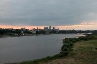 Skyline von Warschau im Abendlicht