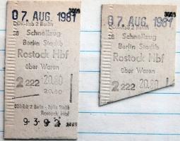 DR Fahrkarte Berlin - Rostock Hbf