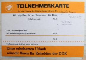 Teilnehmerkarte DDR Reise