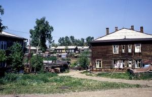 Holzhäuser in Irkutsk