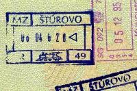 slowakischer Stempel im Reisepass, Grenzübergang Stúrovo, Grenzkontrolle in der Eisenbahn