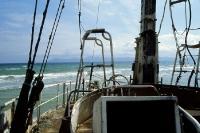 Bootswrack an der Küste der spanischen Urlaubsinsel Mallorca