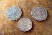 Cent-Münzen aus Suriname, ehemalige niederländische Kolonie in Südamerika