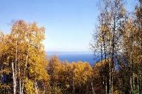 Blick auf den Baikalsee im goldenen Herbst