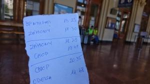 Notizzettel für eine Bahnreise