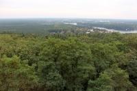 Blick vom Woltersdorfer Aussichtsturm auf dem 102 Meter hohen Kranichsberg