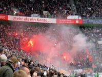 Pyroshow der Kölner Fans in Mönchengladbach