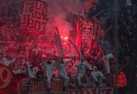 Pyroshow der Kölner in Gladbach 2015