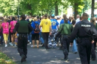 Lok-Fans auf dem Weg zum Leipziger Derby gegen den FC Sachsen, 2009