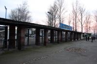 Sportstätte mit viel Tradition - Haupteingang des Bruno-Plache-Stadions