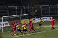 Der Ball ist drin! Tor! Führungstreffer des 1. FC Lokomotive Leipzig!