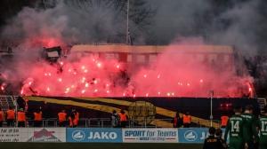 Pyroshow beim Leipziger Derby