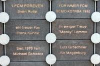 Nur dem 1. FC Magdeburg... Tafeln vor dem Magdeburger Stadion (MDCC Arena)