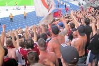 Torjubel bei den Club-Fans: 1:0 des 1. FC Nürnberg bei Hertha BSC im Berliner Olympiastadion