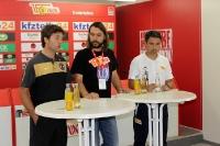 BFC-Trainer Igor Lazic, Union-Pressesprecher Christian Arbeit und Union II-Trainer Engin Yanova