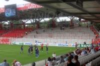 17:30 Uhr - leerer Gästeblock im Stadion Alte Försterei ...