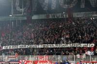 Spruchband der Energie-Fans beim Spiel in Berlin