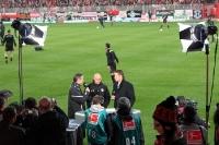 Union-Trainer Uwe Neuhaus und St. Pauli-Trainer Andre Schubert beim Sky-Interview vor dem Spiel