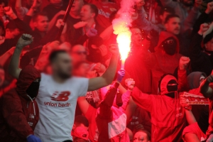 Pyroaktion Union Berlin Fans in Leverkusen