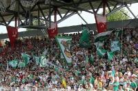 Tribüne mit Gästefans des SV Werder Bremen