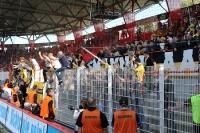 Enttäuschte Fans von Alemannia Aachen nach der 0:2-Niederlage bei Union Berlin