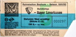 Eintrittskarte VfL Bochum 1991/92